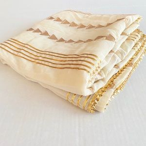 INDIAN Scarf Wrap Handcrafted gold cream Cotton